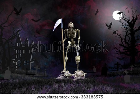 Grim reaper from hell rid misbehave soul in Halloween night - stock photo