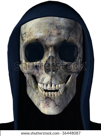 Grim Reaper in a black hood. Skull Illustration on clean white background. - stock photo