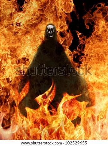 Grim Reaper in fire - stock photo