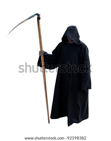 Grim Reaper isolated on the white - stock photo