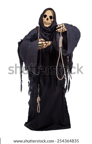 Grim Reaper offers executioner noose isolated on white background. Skeleton holding a noose. Death has a rope with a noose. Grim Reaper in a tattered black robes showing a noose on white background.