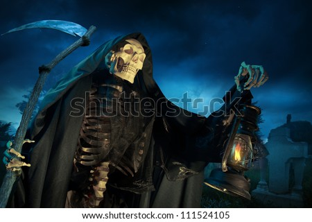 Grim reaper on a dark background - stock photo