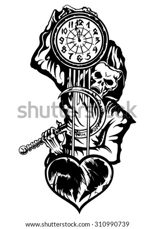Grim Reaper or the Death with a clock. Illustration black & white emblem of the skeleton in the hood. He holds a clock with a damaged heart, and a reaping hook