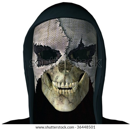 Grim Reaper Skull wearing a scary mask and black hood. Goth Illustration on clean white background - stock photo
