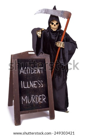 Grim Reaper standing at menu-board and points the finger forward - stock photo