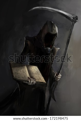 grim reaper with a death book - stock photo