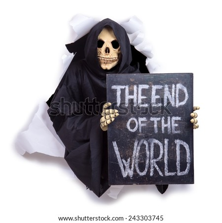 Grim Reaper with an billboard - stock photo