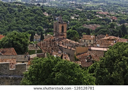 Grimaud, old town with roofs and old church, Cote dAzur, French Riviera, Provence, Southern France, Europe - stock photo