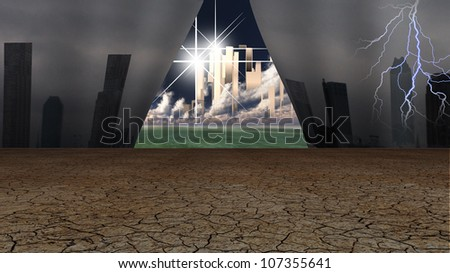 Grime cityscape pulled away to reveal glorious gleaming city beyond - stock photo