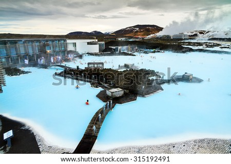 GRINDAVIK, ICELAND - FEBRUARY 6, 2014: View of the popular tourist destination geothermal spa The Blue Lagoon on February 6, 2014 in Iceland - stock photo