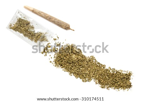 Grinded weed shaped as Nepal and a joint.(series)