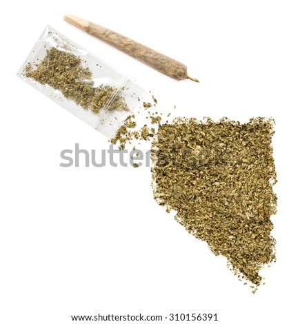 Grinded weed shaped as Nevada and a joint.(series)