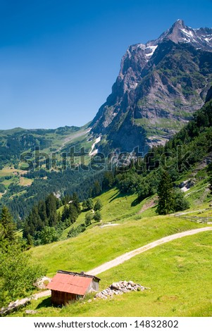 Grindelwald in the Canton of Bern in Switzerland - stock photo