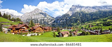 Grindelwald Village Panorama, Switzerland - stock photo