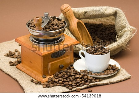 grinder and coffee beans
