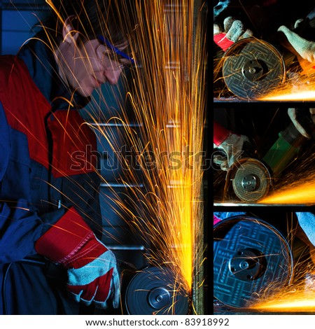 Grinding iron collage - stock photo