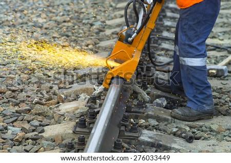 Grinding railway track  - stock photo
