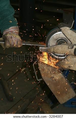Grinding steel - stock photo
