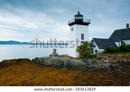 Grindle Point lighthouse, Islesboro, Maine  - stock photo