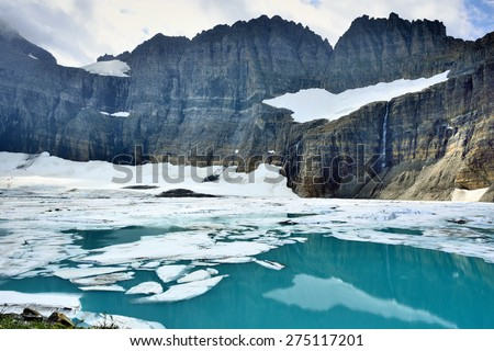 Grinnell glacier in Many Glaciers, Glacier National Park, Montana in summer - stock photo