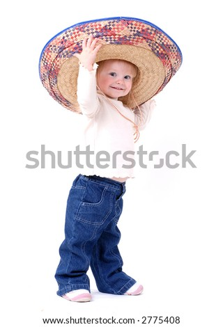 Grinning Baby with Mexican Hat - stock photo