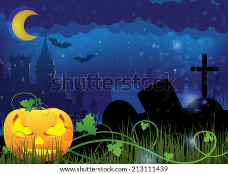 Grinning Jack o lantern on a night cemetery. Abstract Halloween  background - stock photo