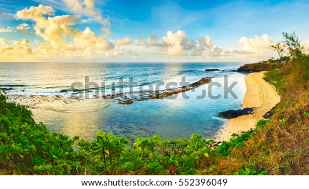 Gris-Gris beach at sunrise. Mauritius. Panorama