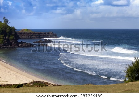 Gris Gris cape on South of Mauritius. Big waves - stock photo