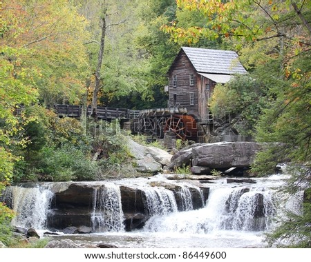 Grist Mill and mountain stream in the autumn