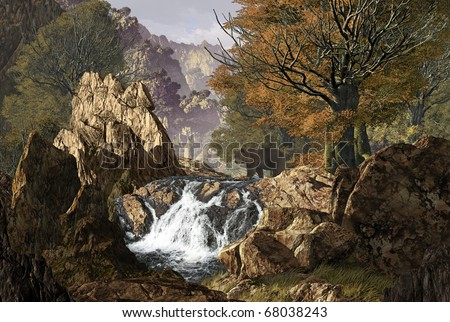Grizzly bear crossing stream in a canyon in the Rocky Mountains in the fall of the year. - stock photo