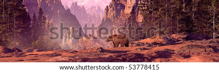 Grizzly bear in a Colorado Rocky Mountain landscape. - stock photo