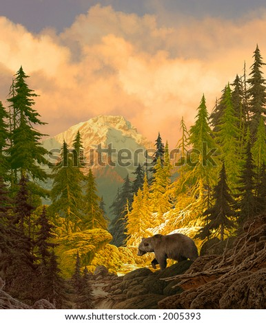 Grizzly Bear in the Rocky Mountains - stock photo