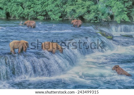 Grizzly bears at Brooks Falls, Alaska - stock photo