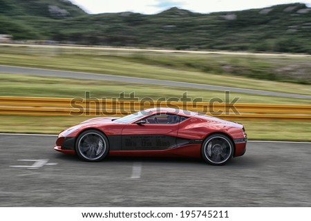 GROBNIK - MAY 14: Rimac Concept One Full Electric Car With 1088 HP tested at race track Grobnik, on May 14, 2014 in Rijeka, Croatoa.   - stock photo