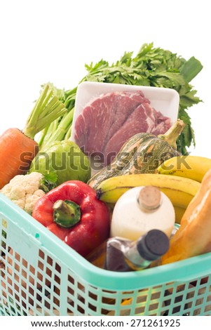 Groceries in large plastic basket - stock photo