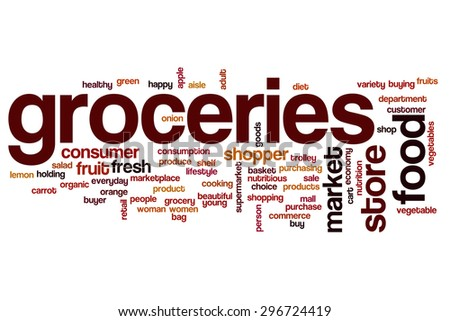 Groceries word cloud - stock photo