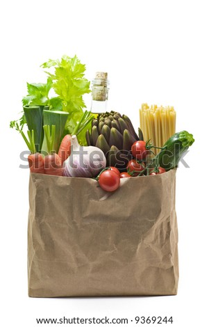 Grocery bag isolated on white - stock photo