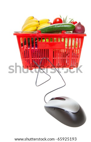 Grocery basket with Computer Mouse, concept of online shopping - stock photo