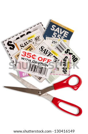 Grocery Coupons Red Scissors Together Isolated On White Background Please note...the coupons that are on top are fake. These were printed. There is no copyright. - stock photo