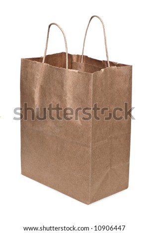 grocery paper bag on isolated background