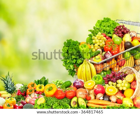 Grocery shopping cart. - stock photo