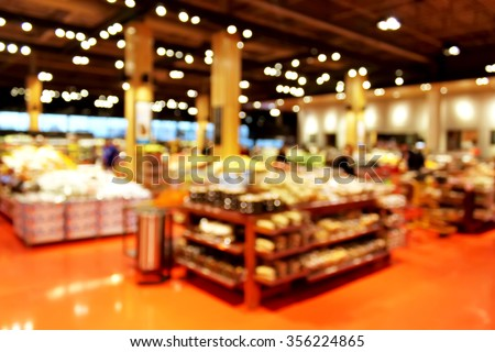 Grocery store blur bokeh background - shoppers at grocery store with defocused lights - stock photo