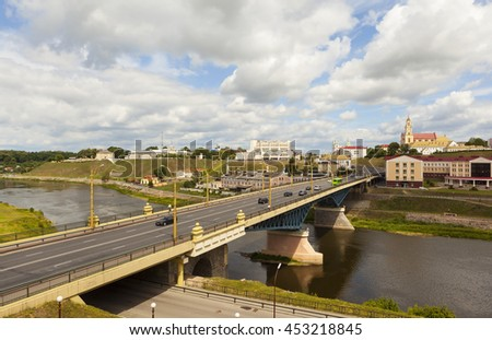 GRODNO, BELARUS - JULY 10, 2016: Photo of Old Bridge, the historic center and the River Neman.