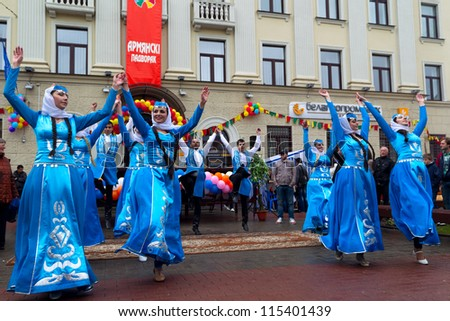 GRODNO, BELARUS - MAY 2:  IX festival of national cultures in Grodno. Folk dance of the Armenian Diaspora, 2012, May 2, Grodno, Belarus