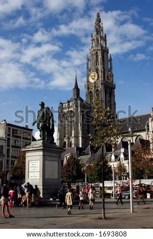Groenplaats, Antwerp, Belgium - in the middle is statue of Rubens - stock photo