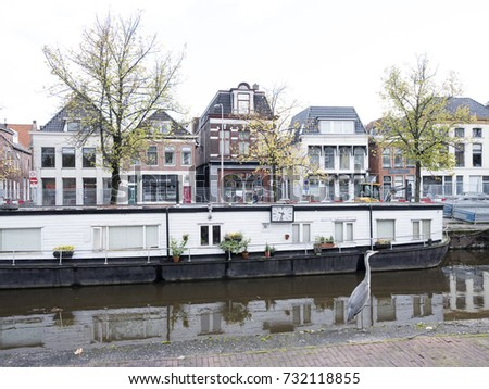 groningen, netherlands, 8 oktober 2017: heron and houseboat in canal of the old city of groningen in the netherlands on quiet morning