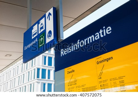GRONINGEN, THE NETHERLANDS - CIRCA MARCH 2016: Detailed travel information (reisinformatie) at Europapark railway station in Groningen, Netherlands - stock photo