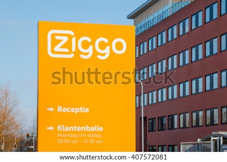 GRONINGEN, THE NETHERLANDS - CIRCA MARCH 2016: Office and customer service desk of Ziggo, the largest cable operator in the Netherlands providing cable internet, television and telephone service - stock photo