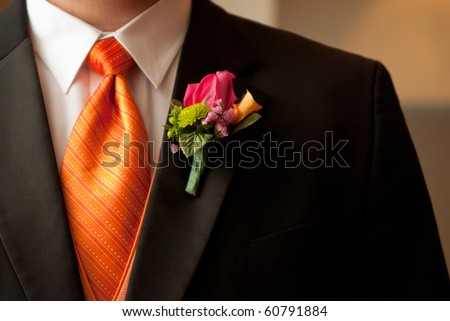Groom and Bouttonniere - stock photo