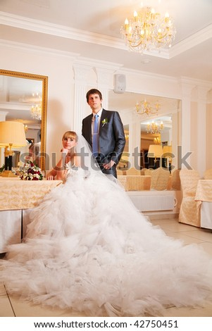 groom and  bride against a beautiful interior - stock photo